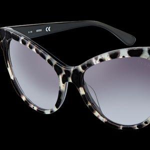 Guess Leopard Print Black Retro Cat Eye Sunglasses